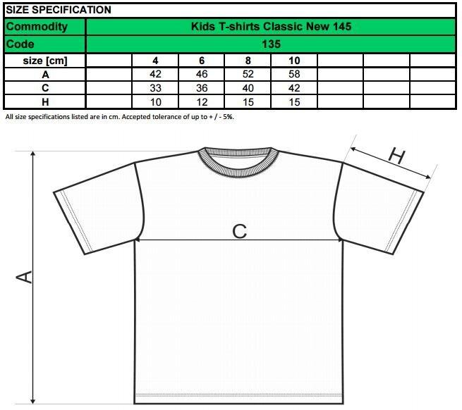 tyrkysové tričko veľkostná tabuľka pre detské tričko Adler Classic New 135 2a90066e86