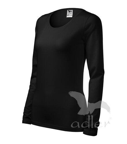 a6b68e3593639 ... dámske čierne tričko s dlhým rukávom SLIM Adler 139, jednofarebné,  priliehavé