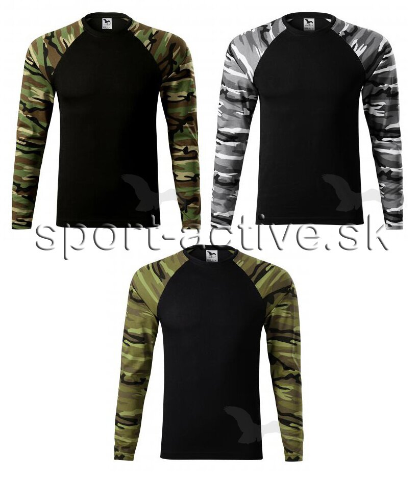 Pánske army tričko s dlhým rukávom Camouflage 166 Adler 0593476fd09