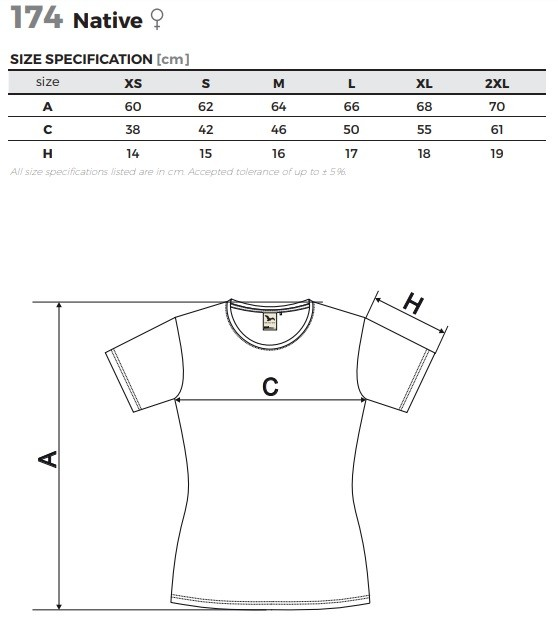 Dámske tričko z organickej bio bavlny s krátkym rukávom Native 174 ...