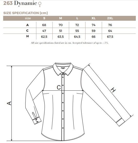 Dámska jednofarebná košeľa s dlhým rukávom Dynamic 263 Malfini ...