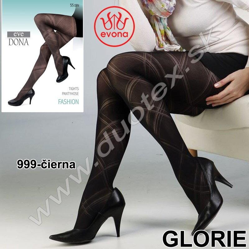 Vzorované čierne silonky - pančuchy dámske Evona Glorie 693e65546e