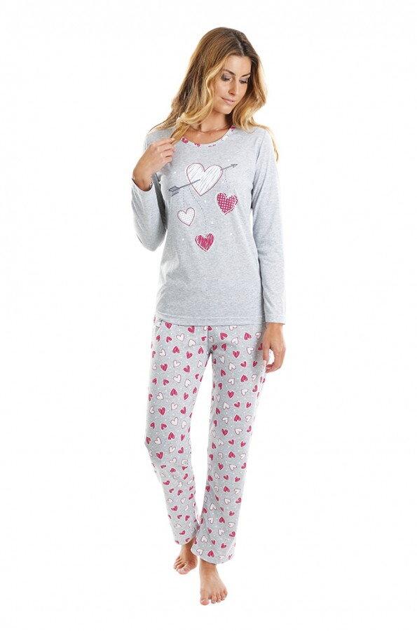 757f6b6a0 Dámske pyžamo P-Amore s dlhým rukávom Evona, bavlnené, so srdiečkami