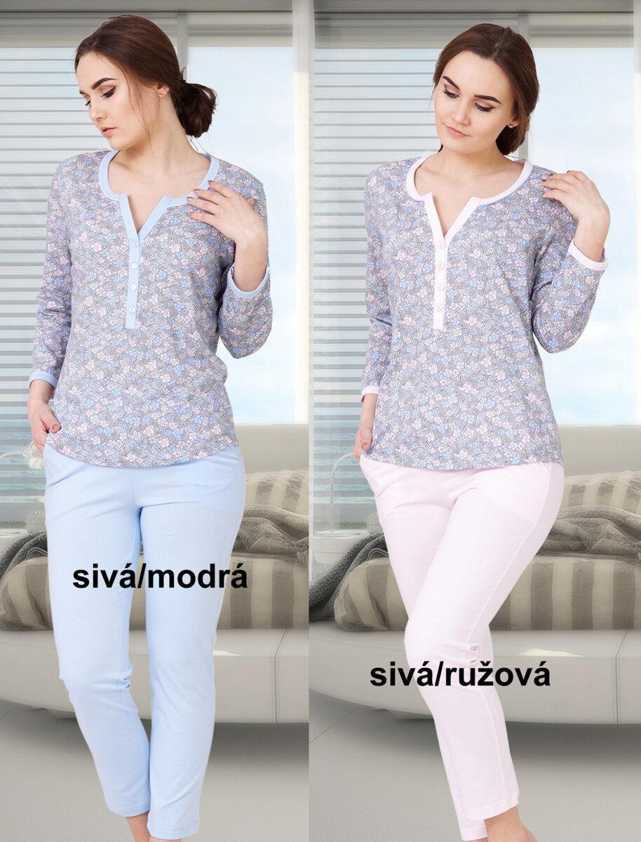 42ade009c Dámske pyžamo s dlhým rukávom a gombíkmi Mira571 M-MAX bavlnené ...