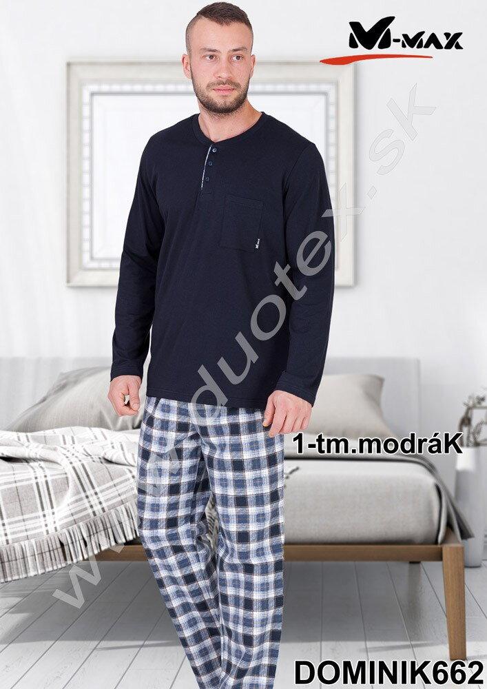 852627358 Pánske modré pyžamo s dlhým rukávom Dominik662 M-Max, bavlené, kárované