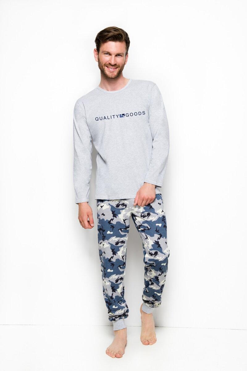 a5805d993a28 Taro pánske pyžamo s dlhým rukávom Milosz2255 svetlo sivé