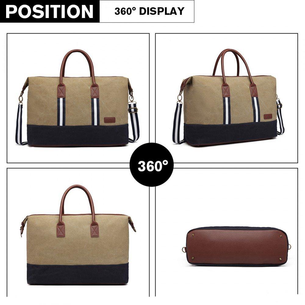d0ab2c3999645 elegantná cestovná taška Kono khaki 360 stupňový náhľad