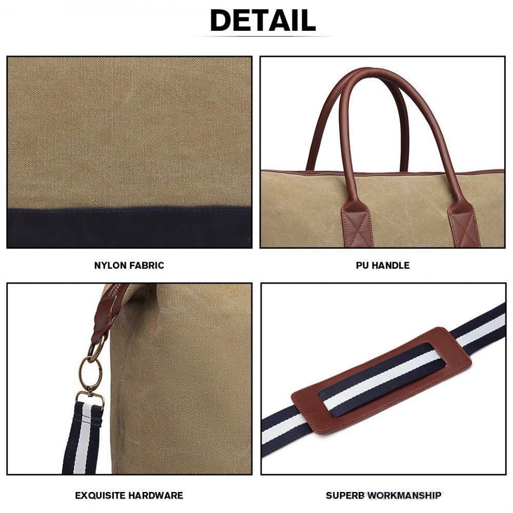 5f6cff60e0ac8 cestovná taška rozmery elegantná cestovná taška Kono khaki detail