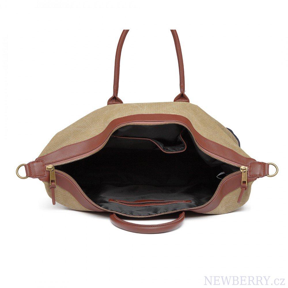 94e135f217ef2 cestovná taška detail elegantná cestovná taška kono khaki otvorená