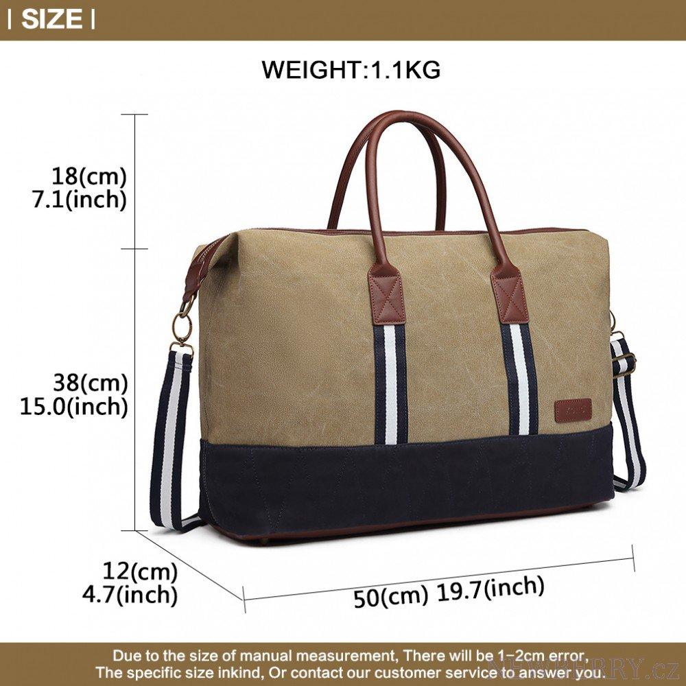 550b2387f4df0 cestovná taška 360 stupňový náhľad elegantná cestovná taška Kono khaki  rozmery