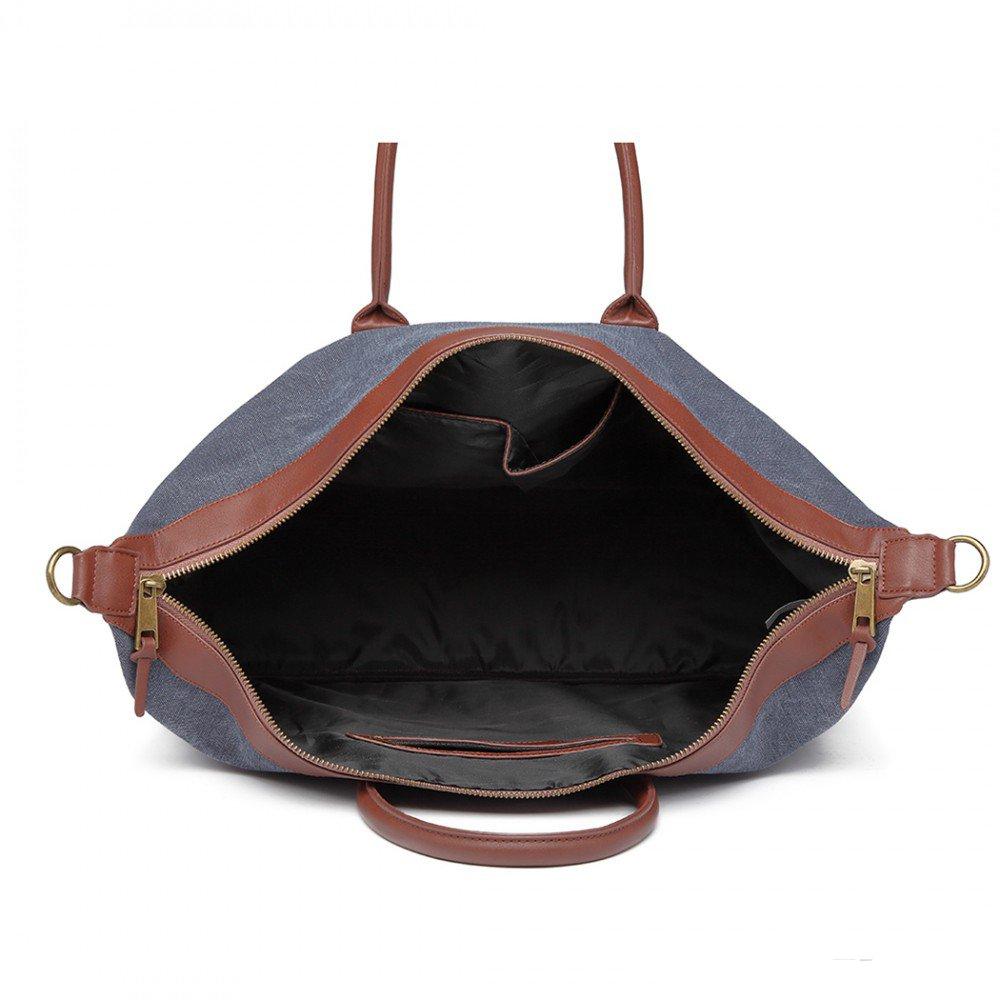 c2362fc963f55 cestovná taška detail elegantná cestovná taška Kono modrá otvorená