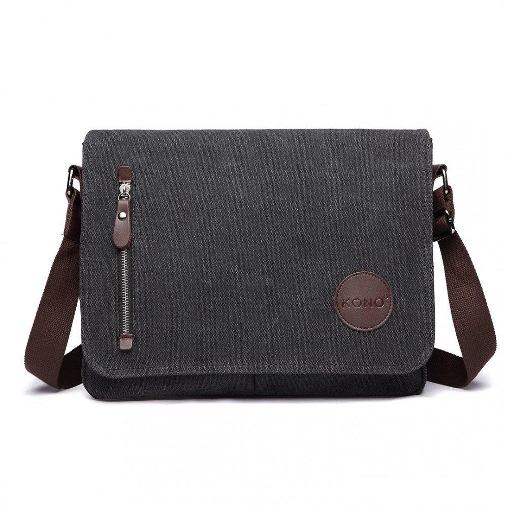 f5b23a650b Kono crossbody pánska messenger taška E1824 čierna s popruhom cez ...