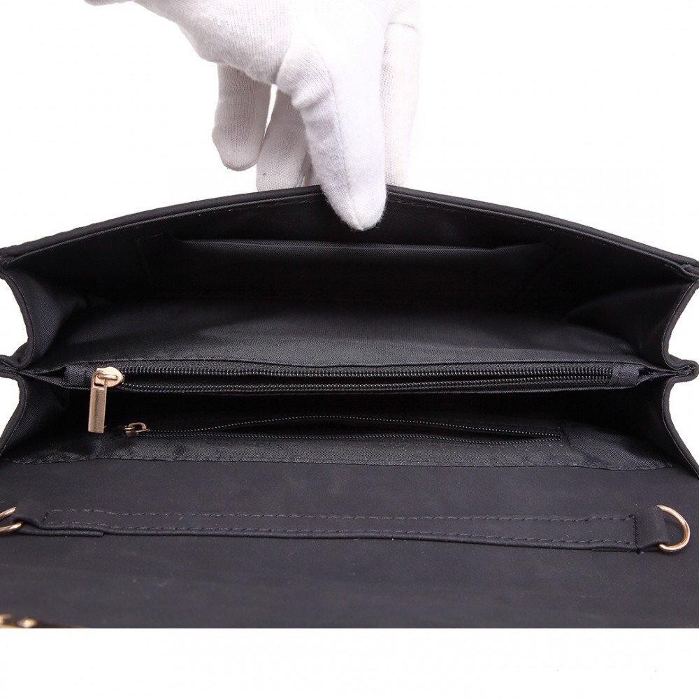 a41ed43674 Elegantná matná čierna dámska listová kabelka Miss Lulu LU-LH1756 BK ...