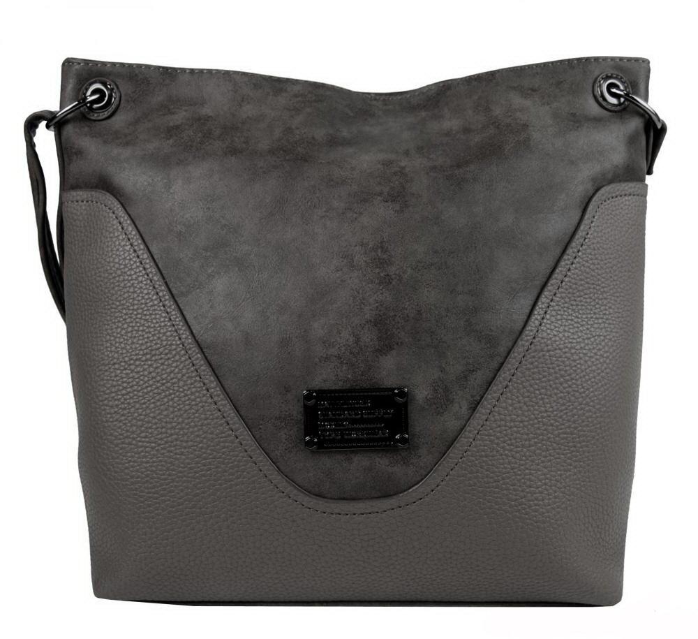 Sivá crossbody kabelka dámska veľká 2467-BB Bella Belly s čiernymi ... c7ca294b4f6