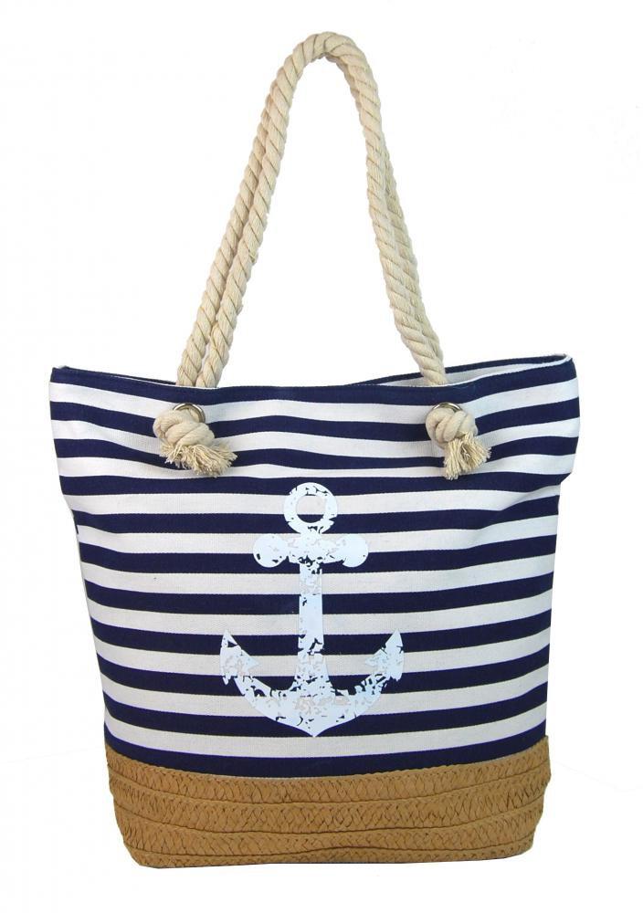 6b91cc735 Plážová taška cez rameno s kotvou Cavaldi 068-2 modro biela