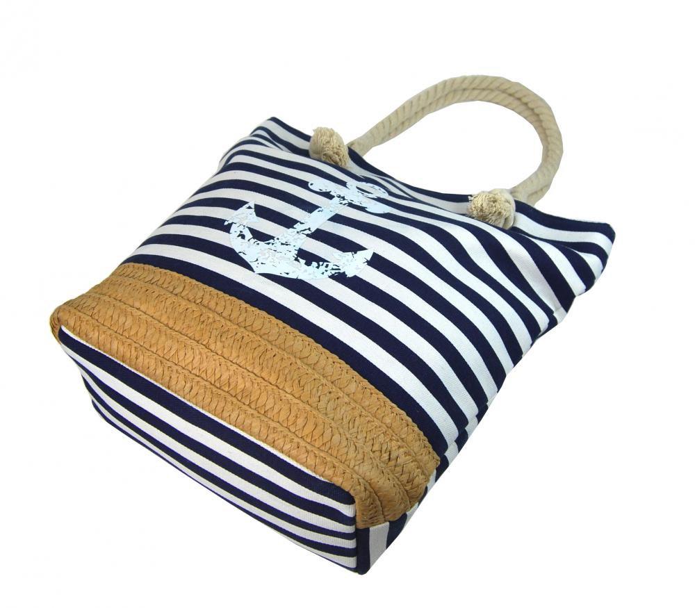 48d89c824 ... plážová taška s kotvou Cavaldi 068-2 modro biela zo spodu