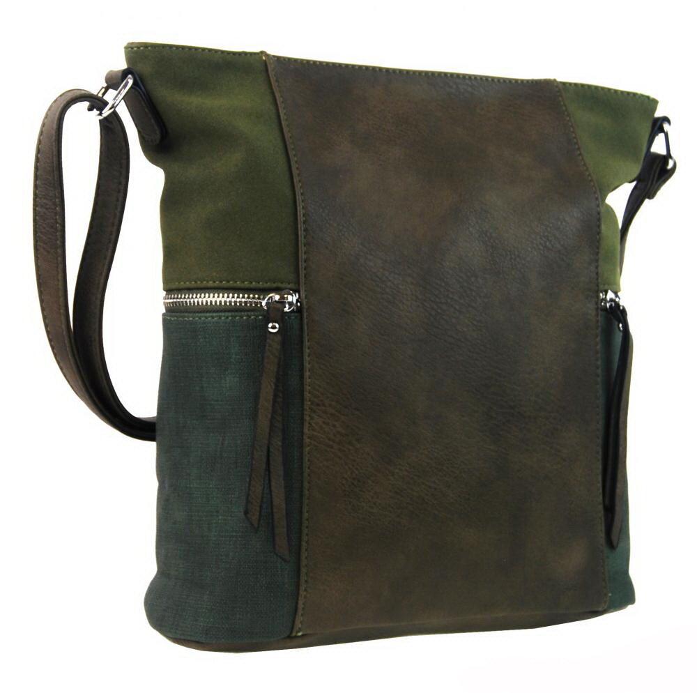 de274ce6b0 Crossbody kabelka dámska khaki zelená AE-9025 New Berry na zips