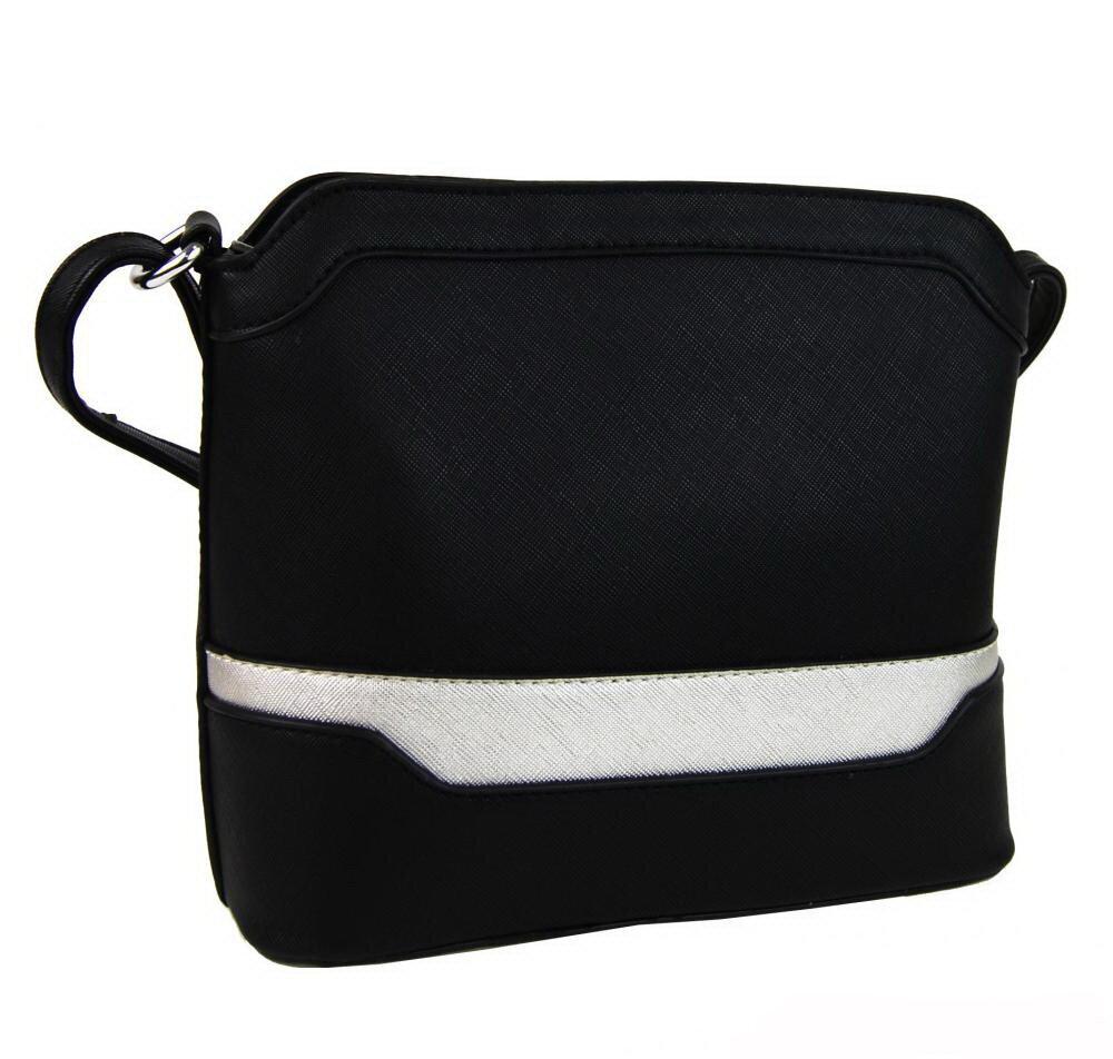 Malá crossbody dámska kabelka New Berry YH1633 čierno - strieborná ... 47e2b7ee637