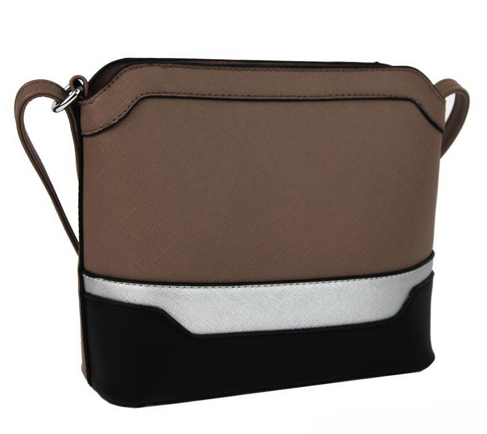 New Berry dámska crossbody kabelka YH1633 šedohnedá   čierna   strieborná a99660617d0