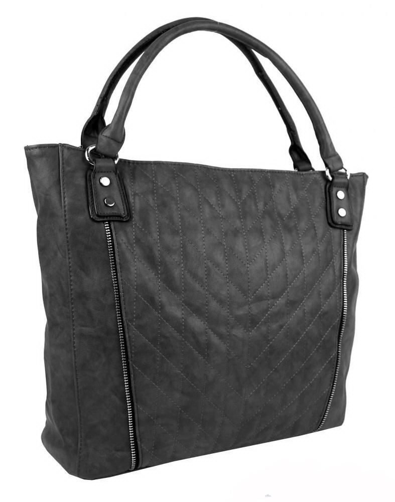 9c288bdb5e Sivá prešívaná veľká dámska kabelka na rameno New Berry YH1651 na ...