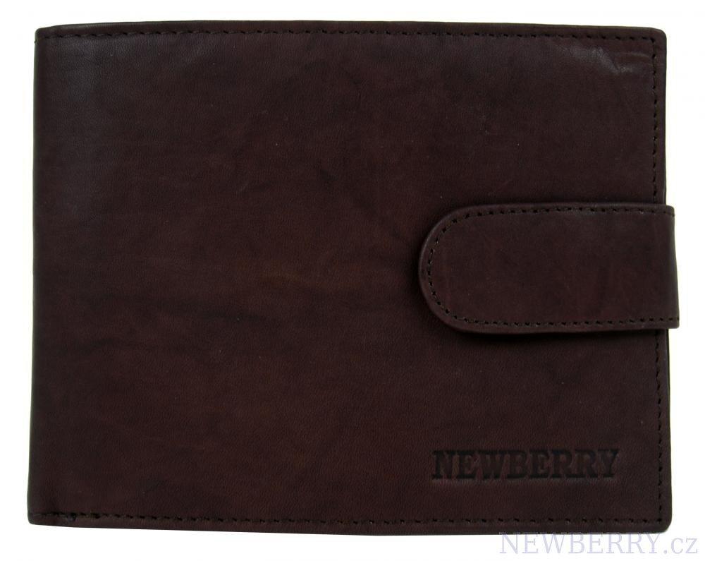 92062fc7e Pánska tmavohnedá kožená peňaženka New Berry 895 s remienkom na cvok ...