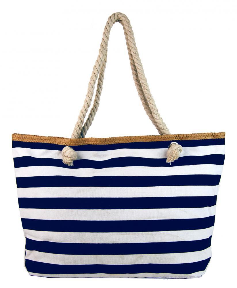 94172e7a5f Veľká modro biela ľahká plážová taška New Berry H-106-3 cez rameno