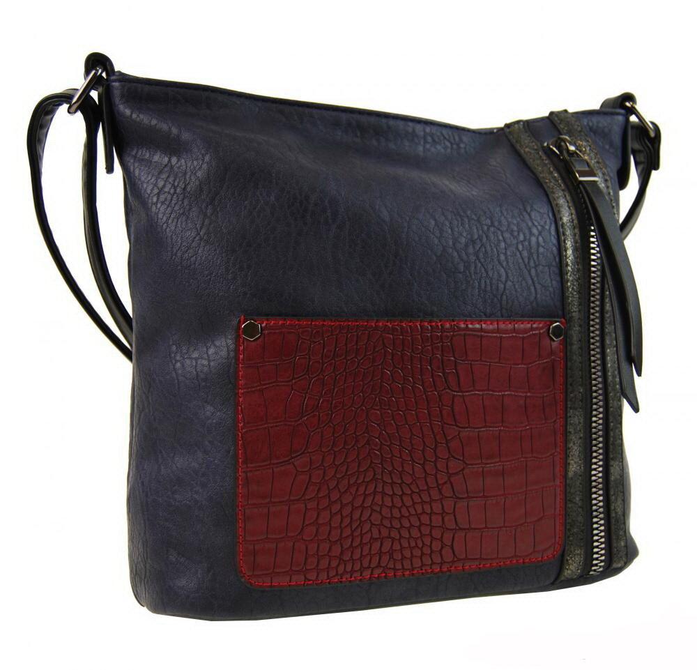 Modrá dámska crossbody kabelka Sun-bags F-014 s čiernymi doplnkami 8fe43bcdc45