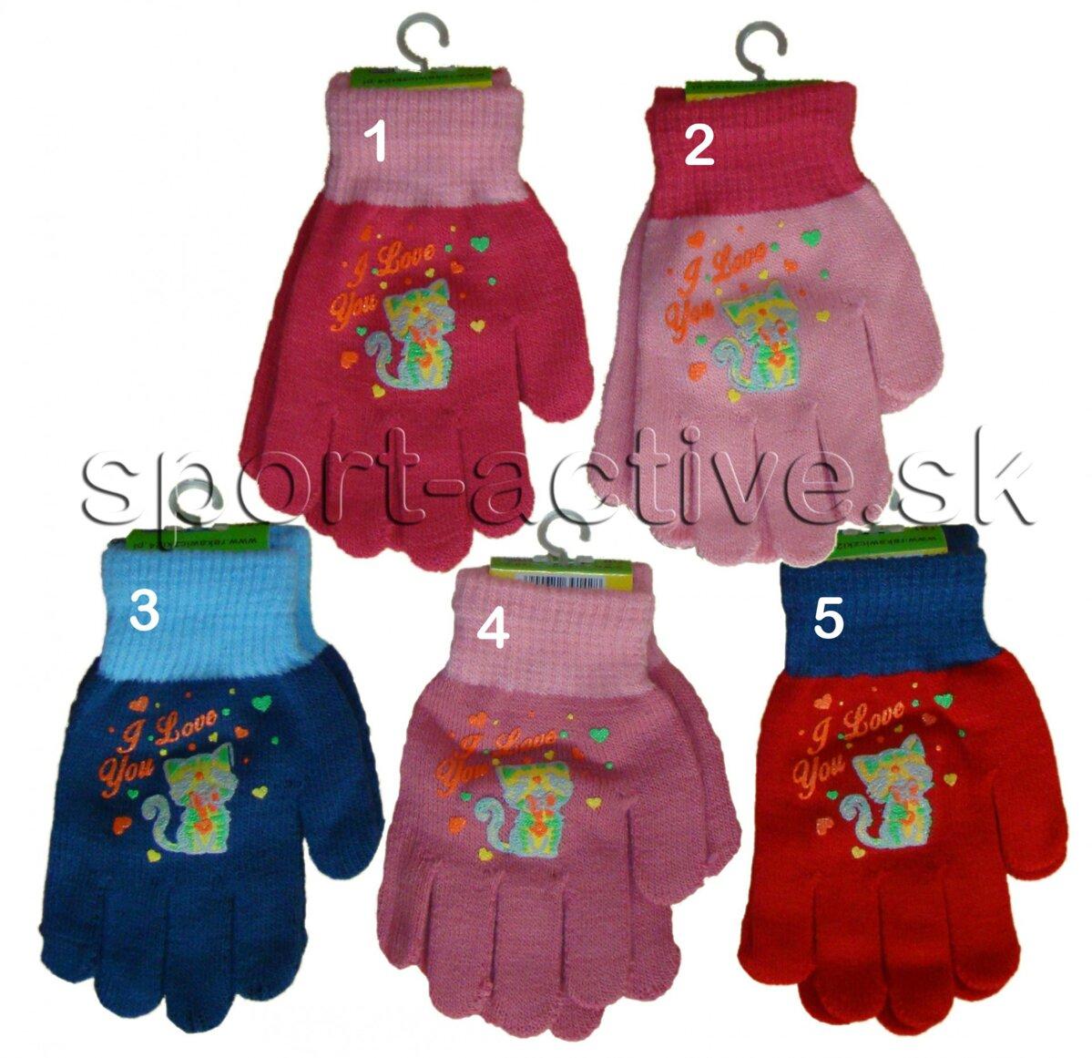 f7b49f5eeb3 Dievčenské zimné rukavice pletené s mačkou