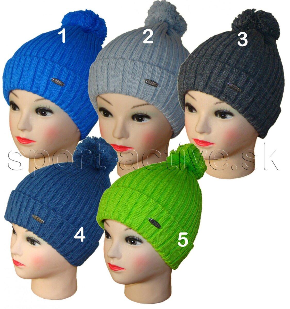 c918956f9 Chlapčenská zimná čiapka s podšívkou a brmbolcom Grans, pletená, na ...