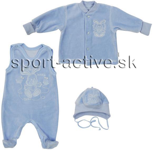 f48f7d8903e6 krémová súprava kojenecká modrá zamatová súprava Richelieu Zajko 1090 -  dupačky