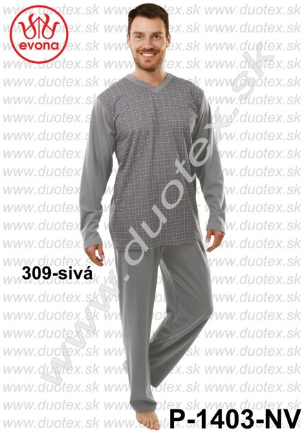 Pánske nadmerné pyžamo s dlhým rukávom Evona P1403 380fca35bb