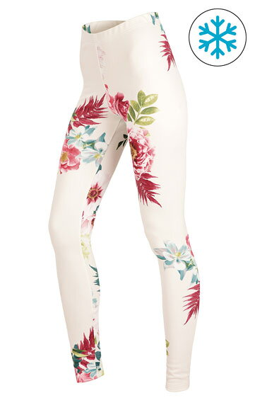 Dámske zateplené legíny Litex 51357 biele s kvetmi b41f37af83