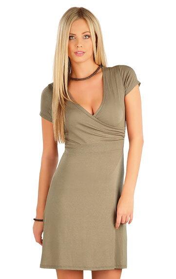 7aa3fd6c55d8 Khaki dámske šaty s krátkym rukávom a prekrížením na prsiach Litex 58078