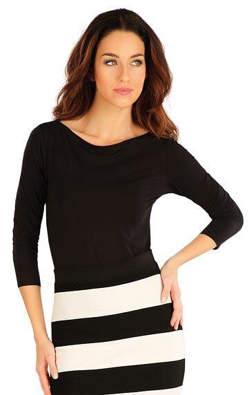 ad2e34d1dab1 Čierne dámske tričko s 3 4 rukávom a lodičkovým výstrihom Litex ...