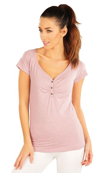 7669ca800b3d Staroružové dámske tričko s krátkym rukávom a riasením na prsiach ...